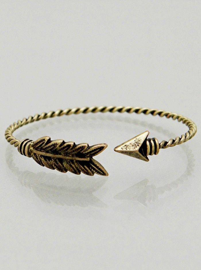 """""""Twisted arrow bracelet with detailed feather design. Available in Antique silver, rhodium silver, gold and burnished bronze! Great for stacking, wearing alone or as a gift."""""""