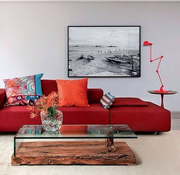 Red Sofas Minimalist Modern Style Spacious Living Room Among Contemporary  Wooden Glasses Coffee Table Style