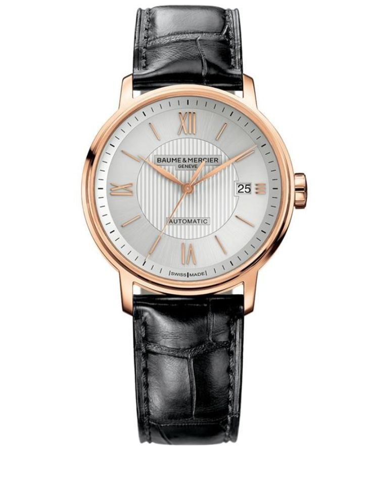 Model:Classima Automatic Ref. M0A10037 Movement:Automatic Gender:Male Complications:Date, Minute Hand, Second Hand, Hour Hand Shape:Round Case Material:Red Gold 5N Dail colour:Silver- Coloured Engraved Size:39 mm Material:Croco-leather Price:€ 5 250 @colmanwatches