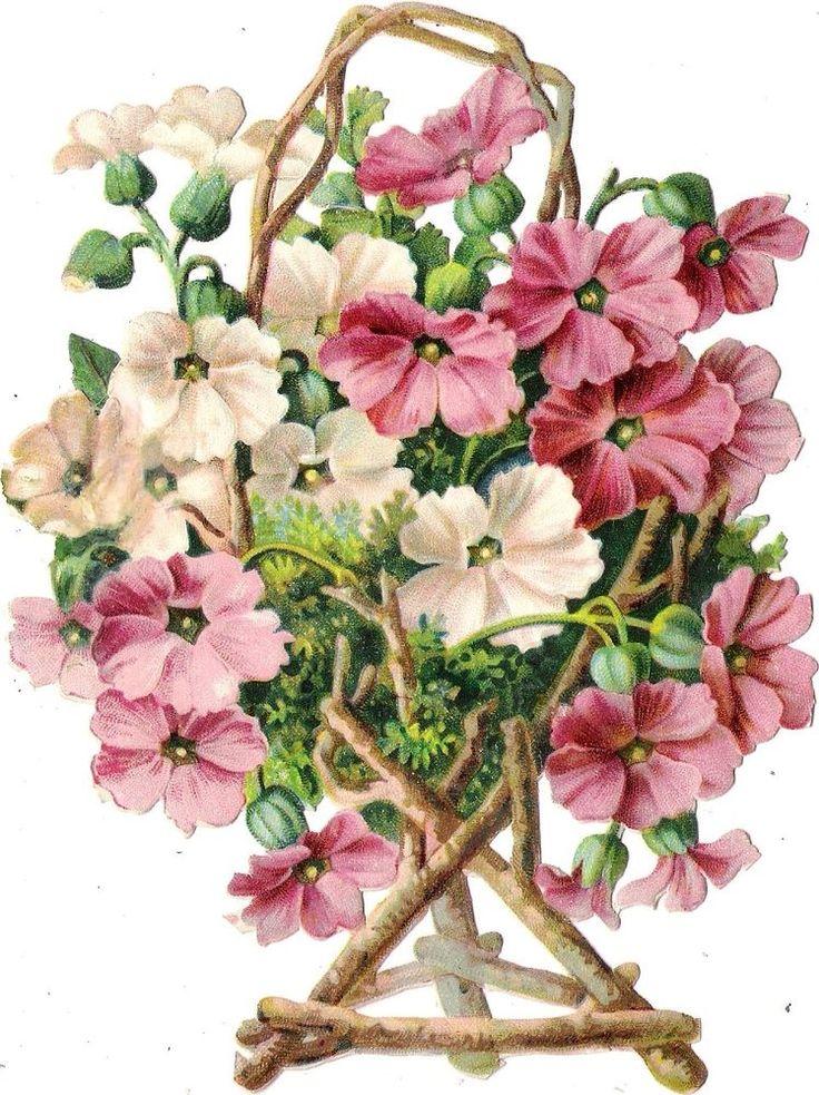 Oblaten Glanzbild scrap die cut chromo Blume fleur  16,5 cm flower