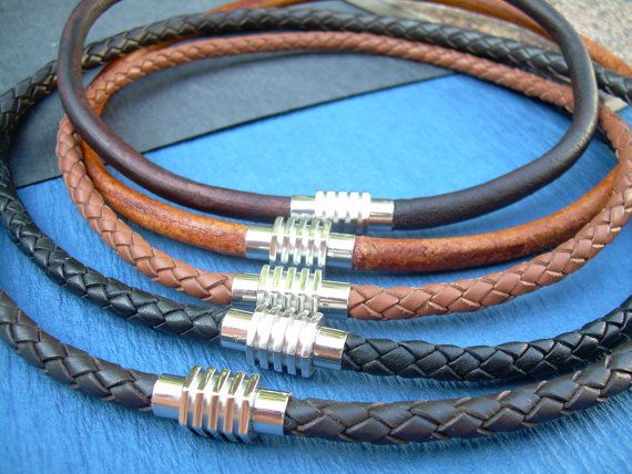 Mens Leather Necklace Stainless Steel by UrbanSurvivalGearUSA, $27.99