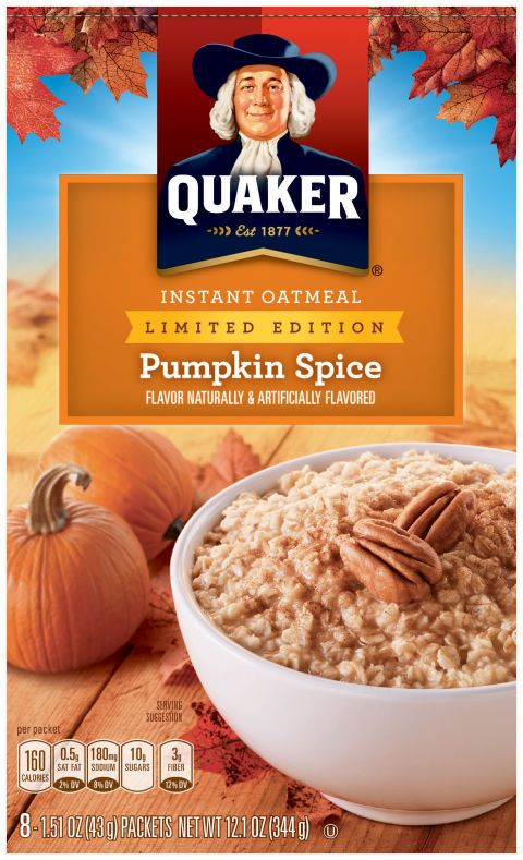 Quaker's Instant Oatmeal is getting the pumpkin spice treatment this fall. The flavor comes with eight packets in a box, and will be shipped to grocery stores nationwide this month.   - CountryLiving.com