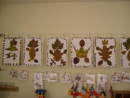 Poppetjes van herfstbladeren knutselen