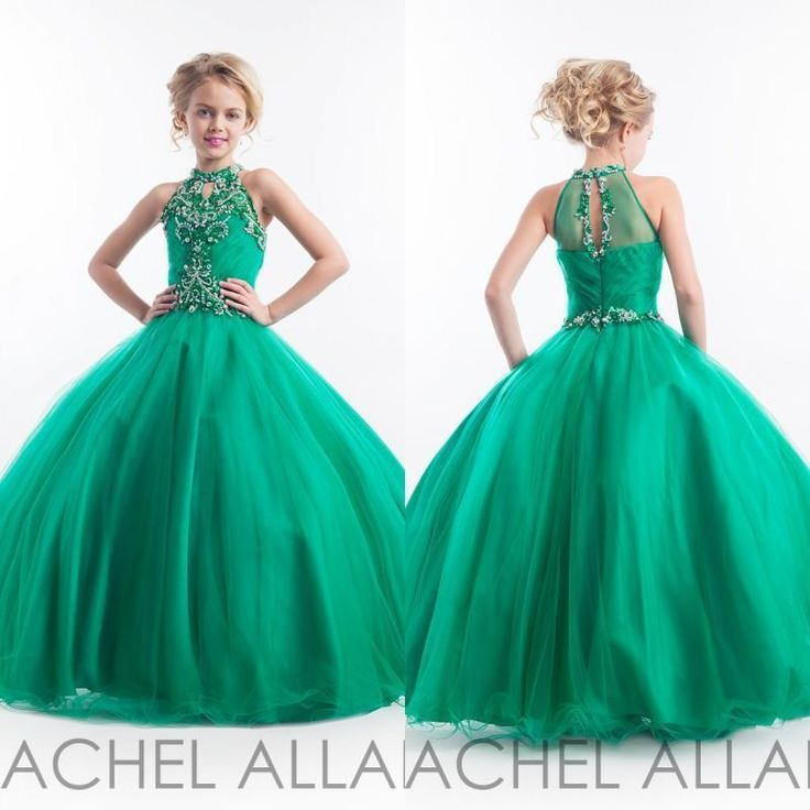 2016 Emerald Green Girls Pageant Dresses Halter High Neck Tulle Beaded Crystals Kids Appliques Glitz Flower Girls Dresses Cheap Girls Pageant Dresses Cheap Glitz Pageant Dresses From Allanhu, $107.9| Dhgate.Com