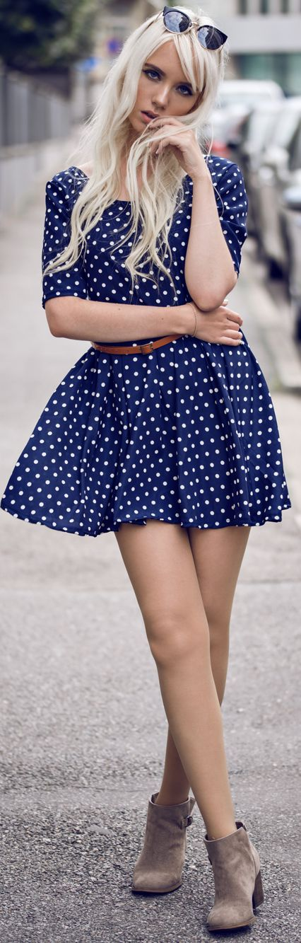 Fashion Secrets Little Dotted Dress Fall Inspo women fashion outfit clothing stylish apparel @roressclothes closet ideas
