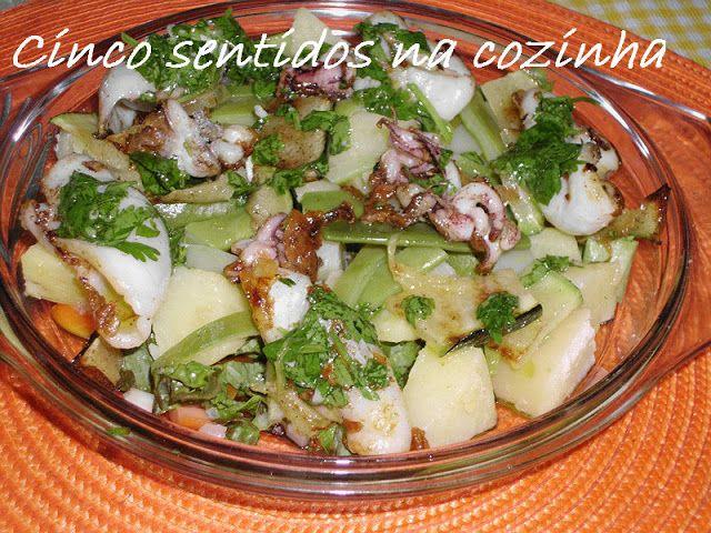 Cinco sentidos na cozinha: Lulas grelhadas com batata e feijão - verde