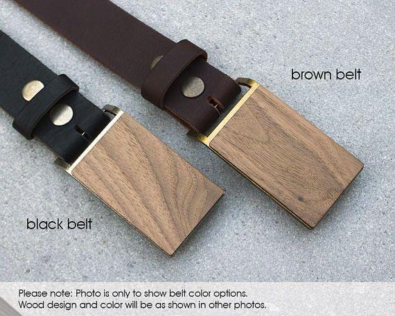 Gift for guy Men's Wooden Belt Buckle Coordinate Belt