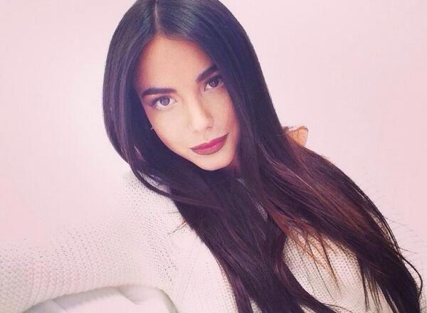 Chiara Biasi dark straight hair