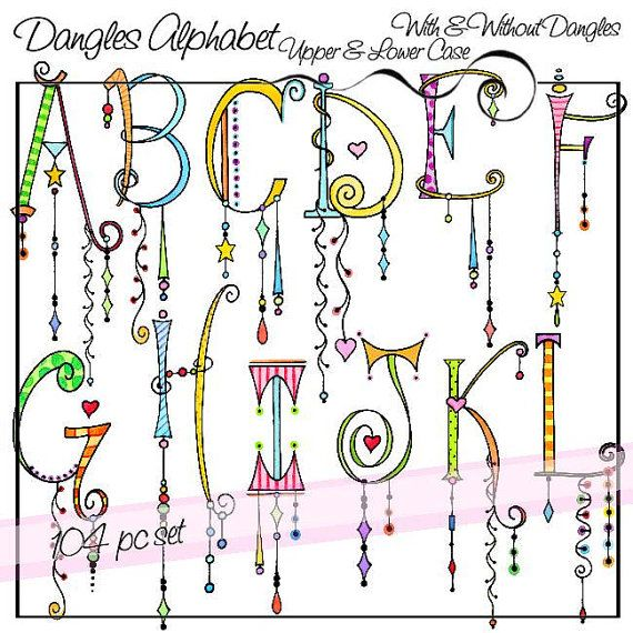 Dangles Alphabet Upper & Lower Case Personal and by atelieroz