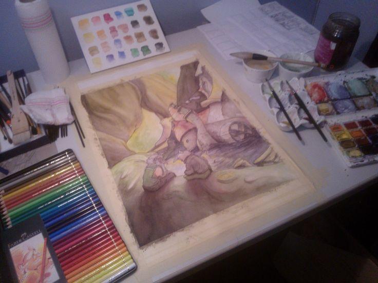 A work in progress show #WIP My gnome themed illustration #gnome #illustration #storybook #watercolor #HannaKenakkala