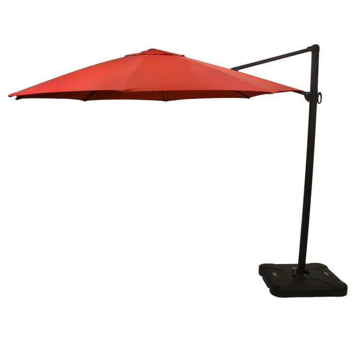 11' Offset Sunbrella Umbrella - Canvas Jockey Red - Black Pole - Smith & Hawken