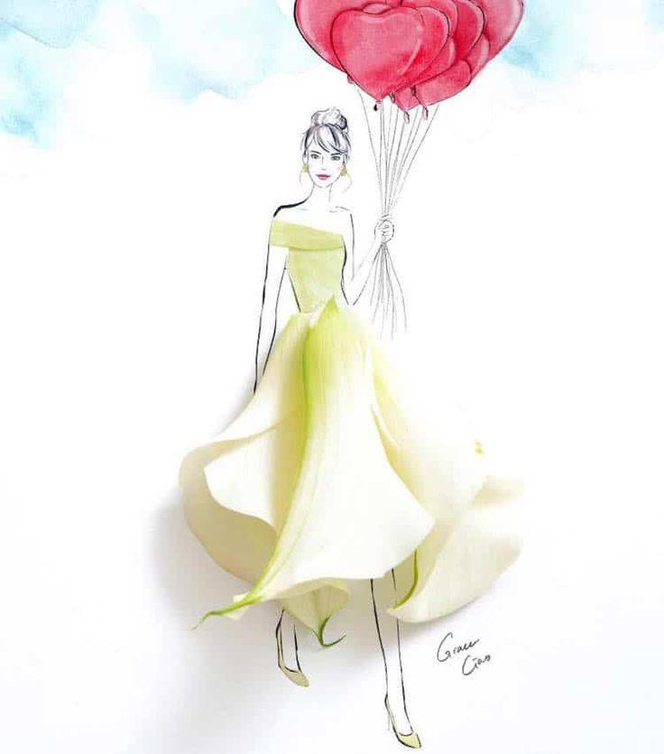 Открытки платья из цветов