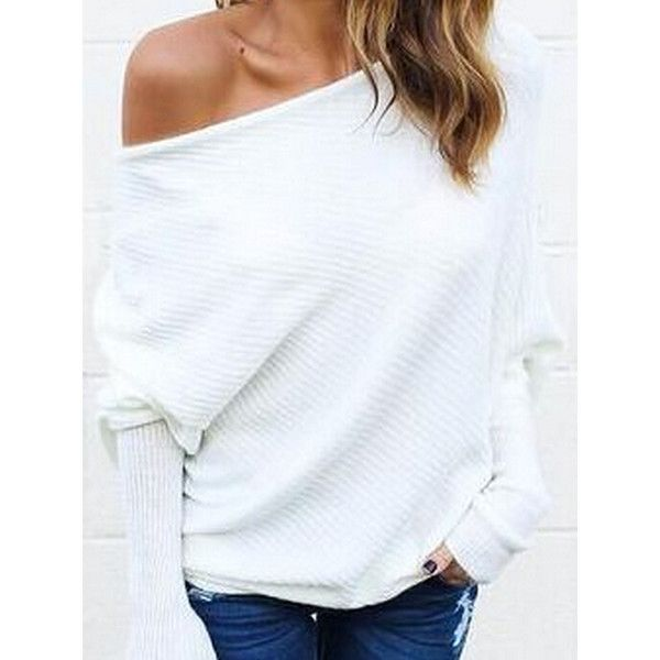 White Cold Shoulder Batwing Sleeve Ribbed T-shirt (1,510 INR) ❤ liked on Polyvore featuring tops, t-shirts, open shoulder tops, white cotton tee, cotton t shirts, cut-out shoulder tops and cold shoulder t shirt