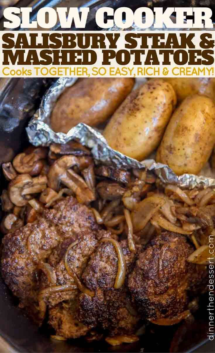 An entire meal in your slow cooker. Slow Cooker Salisbury Steak and Mashed Potatoes is an easy hearty meal!