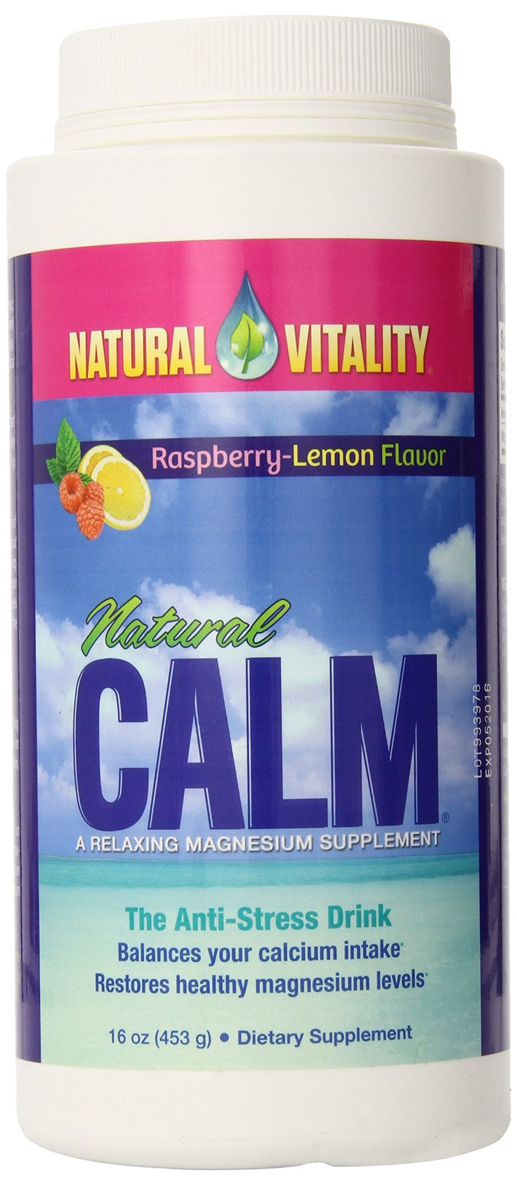 Natural Vitality Natural Calm Raspberry Lemon 16 oz - helps to aid digestion and sleep while traveling