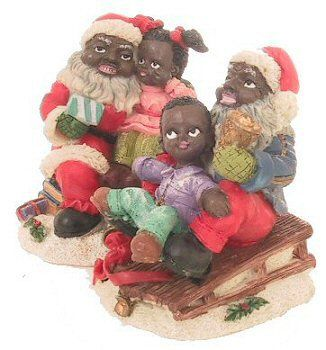 Fun With Santa Set Two Black Santas One With A Little Boy And One