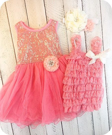 This matching sister dress/outfit set comes with a coral tulle dress with peach adorned flower and a matching little sister romper in peach/coral with matching headband. Great for girls for birthdays, weddings, and those family photos.