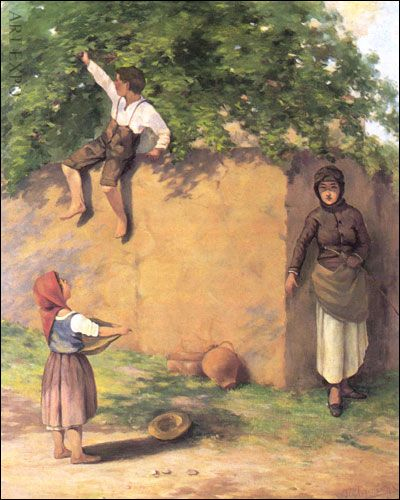 """Children Stealing Apples"" , by #Greek painter Lembesis"