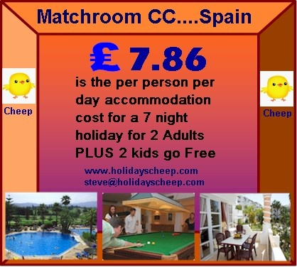 The accommodation at Matchroom Country Club comprises luxury, spacious, studio, one, two and three bedroom apartments, all tastefully decorated and comprehensively equipped, including satellite T.V. to give guests every comfort. The resort is fully enclosed to ensure that members enjoy the privacy of an exclusive club. Matchroom is perfectly positioned to visit Fuengirola, the most popular beach resorts on the coast.  http://www.holidayscheep.com/index.php/activities-matchroom-country-club