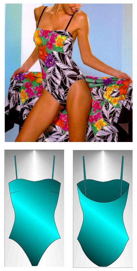 Swimsuit sewing pattern Andros - Patrón de traje de baño Andros