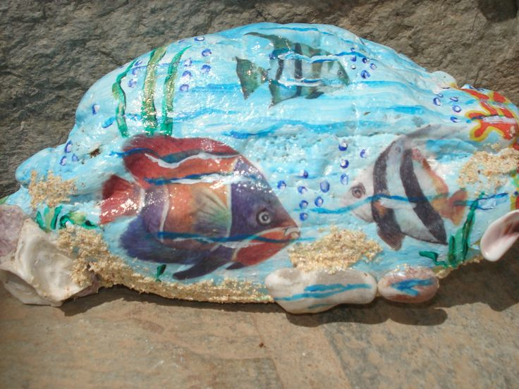 stone of sea with decoupage and painting