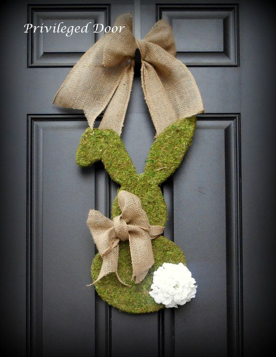 Easter Wreath. Spring Wreath. Bunny Wreath. Moss Covered Bunny Wreath