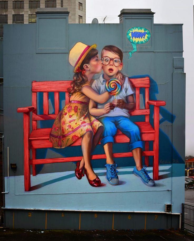 """Love is in The Air"" by Natalia Rak, art, mural art, mural, urban art, polish artist, Natalia Rak, graffiti"