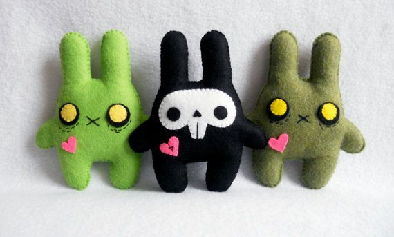 Two zombie and one skully bunny plushies - for those who like your plushies a little dark and twisted :P
