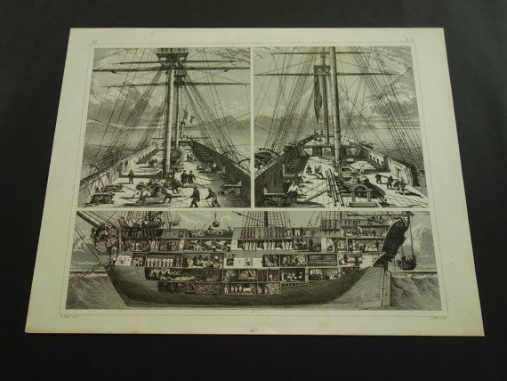 1849 SHIPS old print of Ship of the Line  by DecorativePrints