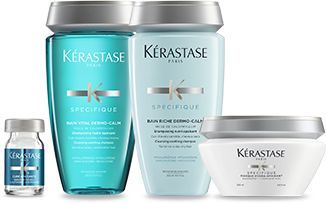 Explore SPÉCIFIQUE SENSITIVE SCALP hair care products by Kérastase and discover the best routine for Itchy & sensitive scalp.