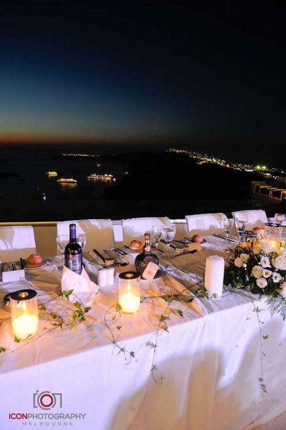 Wedding Reception Night View - Santorini Greece