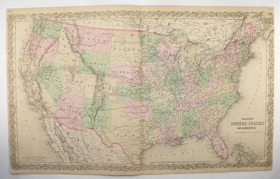 1881 United States Map Colton Map Of United States Large Vintage Us Map Us History Buff Gift Man Cave Art Gift For Him Office Art Gift United States