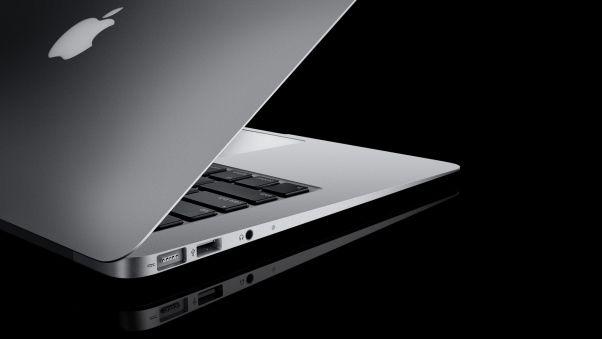ноутбук, apple, серый, чёрный, открыт, яблоко, отражение