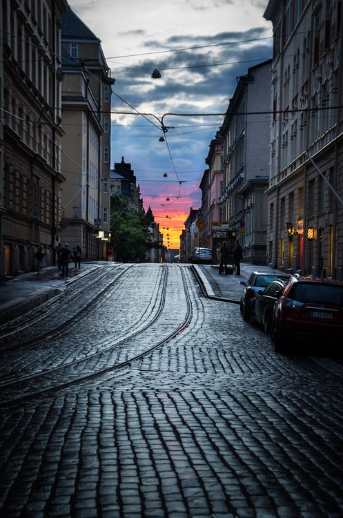 Helsinki, Finland (by John C.) Raitio vaunut and the streets mom told me she had a hard time walking on as a teen in high heels