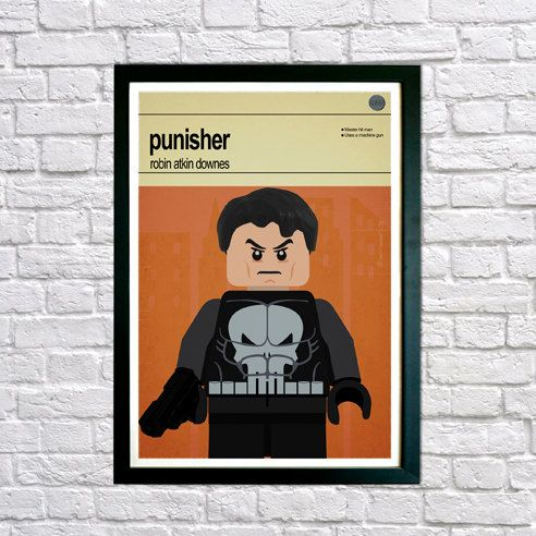 This is a stylish poster print of the Lego Marvel Super Hero/Villain Punisher, fit to grace any man cave or children's bedroom. Hand drawn with a graphics tablet and pen this print is styled with typography and features the actor who voiced Punisher in the Lego Marvel Super Heroes game and the Lego Super Hero abilities.