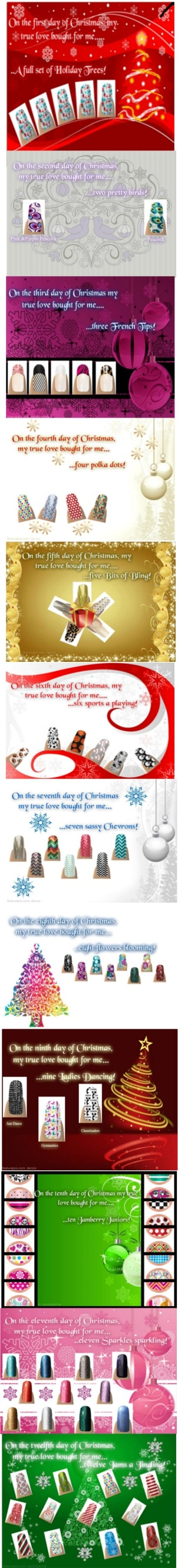 The 12 Days of Christmas - Jamberry Style!  #Christmas #holidays #nailshields #nails