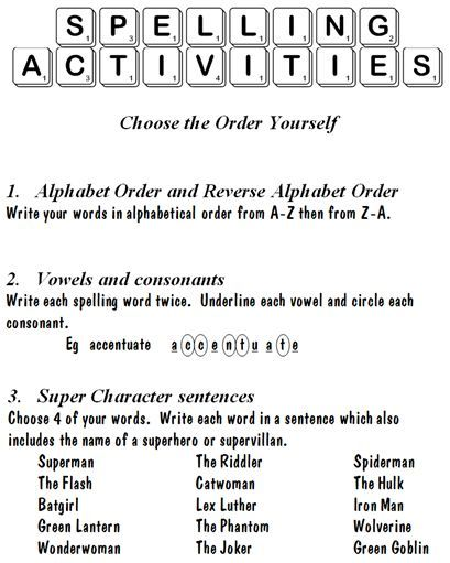 spelling word work