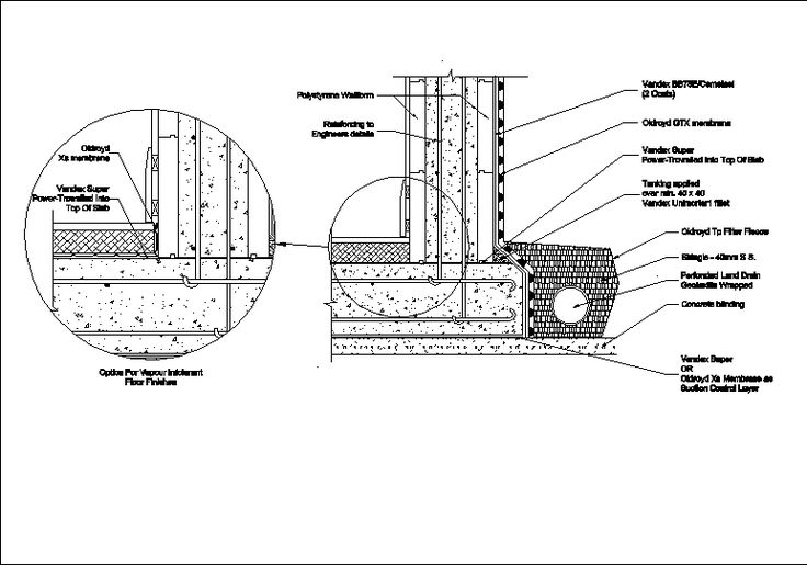 basement waterproofing  dwg - autocad drawing