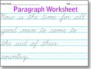 Cursive writing paragraph practice - create your own worksheets