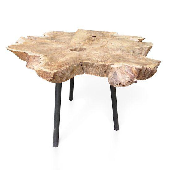 Moods wood bijzettafel hout zwart staal onderstel for Zwart hout ladeblok