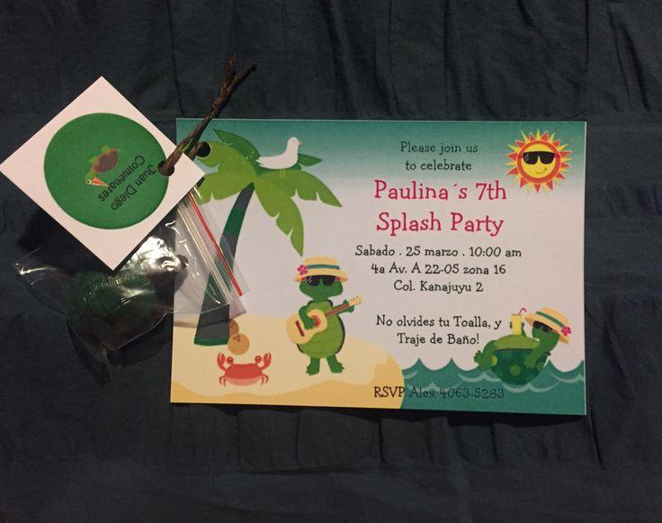 Invitaciones de splash party con tortuga de juguete