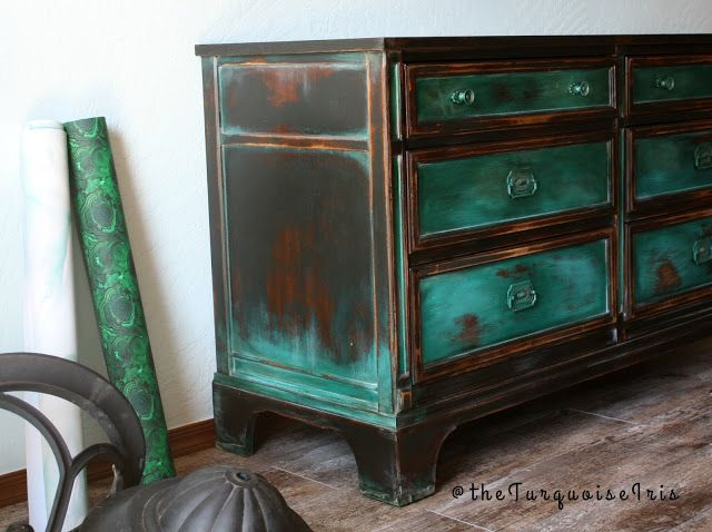 The Turquoise Iris ~ Vintage Modern Home: A Gorgeous Teal Green Dresser Furniture Makeover #...