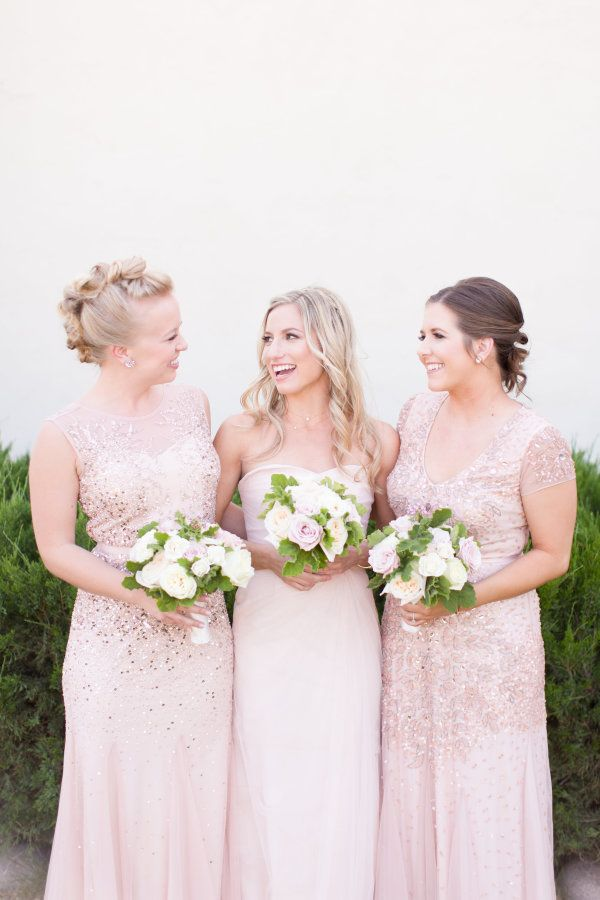 Shimmery mix and match bridesmaid dresses: http://www.stylemepretty.com/arizona-weddings/scottsdale/2016/06/23/youll-want-to-steal-this-bride-and-grooms-sweet-design-ideas/ | Photography: Amy & Jordan Photography - http://amyandjordan.com/