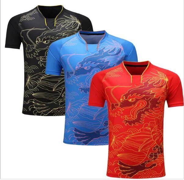 China Dragon Table Tennis Shirt Men Badminton Jerseys Ping Pong Sports T Shirt Polyester Dry Cool Ma Long Table Tenni Tennis Shirts Table Tennis Tennis Clothes