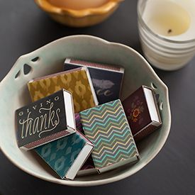Dress up your matchboxes with these pretty fall labels. Just download and print onto label paper and use them to cover the mini boxes.