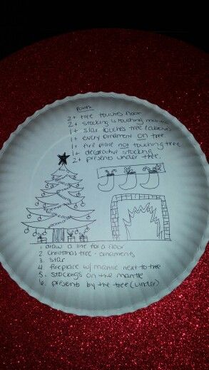 Christmas paper plate drawing game (plate goes on your head while you are drawing)