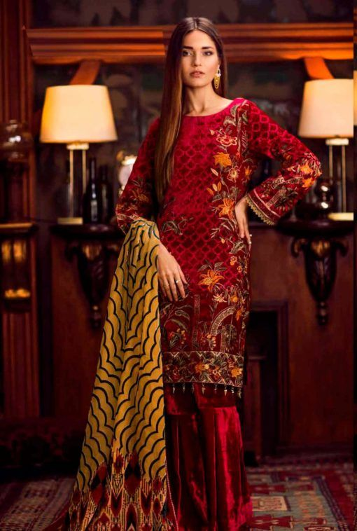 44c4d1de4f #99pockets offering Shaista velvet embroidered suit with silk velvet  dupatta at the discounted rate...... ₹5,499.00 Product Details: Fabric :  Top- Pure ...