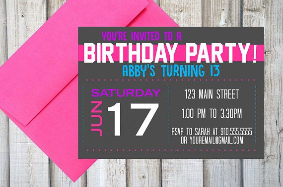 GIRLS BIRTHDAY PARTY Invitation Printable Customized