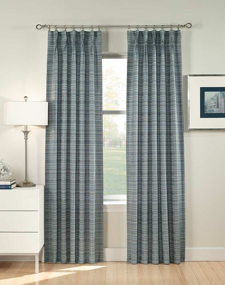 heritage pleated window curtain panel blue main