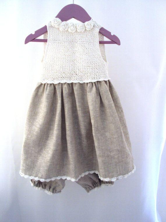 Organic linen Crochet Yoke Fabric Dress Sewing Girls Baby Newborn Toddler Dewdrops Summer fashion